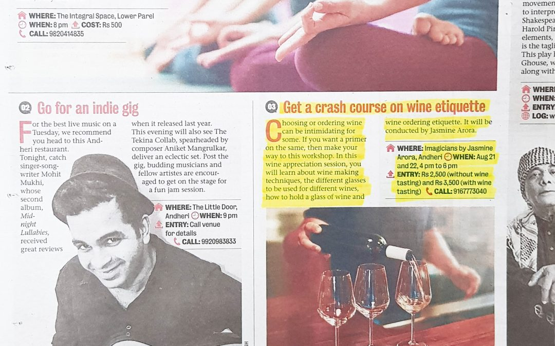 Wine Workshop Feature in Mumbai Mirror